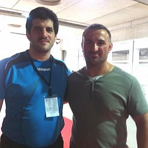 METO KODAKOV junto al entrenador de la selección Iraní de lucha olímpica D. Rasoul Khadem (Campeón olímpico y Campeón del Mundo)